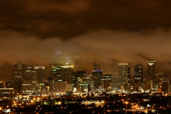 Houston Skyline on a Cloudy Night